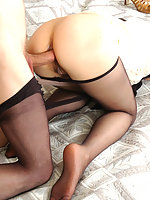 Nylon-addicted gal and her guy enjoying luxury hosiery and frantic anal sex