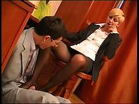 Lewd co-worker sniffing high heel shoes while fucking hot gal in black hose
