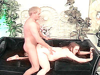 Horny redhead mom to be getting pussy hammered on the couch