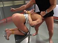 Lexi Bardot bondage lover blindfold and tied fucks her master.