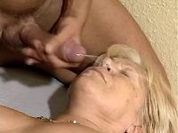 Chubby granny gets cumload on face
