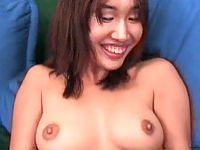 Brunette asian chick playfully indulging in a pussy foreplay galore.