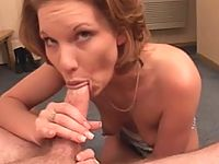Matured brunette slut skillfully sucks and hardens erected meat