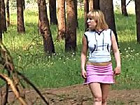 Teen walking topless and pissing in the woods