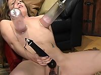 Jade Marxxx cums from enormous cock and a fast machine fucking.