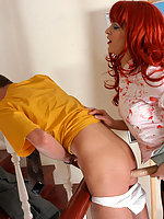 Red hot chick luring kinky guy into strap-on fucking in various positions
