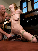 Redhead dominated and fucked in bondage for promotion.