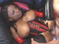 Ebony whore in latex fucking hard