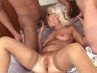 Granny has fun with amateur guys