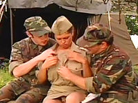 Two Soldiers Fucking A Busty Army Slut In Lingerie