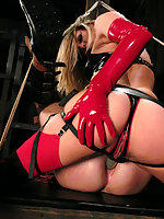 Mistress Harmony Rose puts eight fingers in his ass