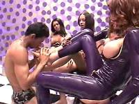 Dudes serve horny shemales in latex
