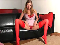 Slim blondie gets rid of red lingerie and tights