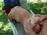 Slim redhead latina babe in outdoor doggie style sex pumping thrill