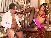 French maid in black hose is about to give hot guy a new fucking sensation