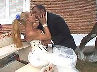 Amazing doggystyle anal fuck with well-hung shemale bride and ebony groom