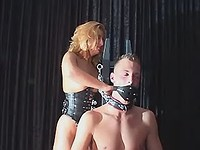 Mature mom in latex humiliate dude