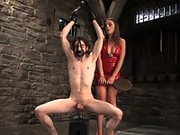 Penny Flames dominates slave in forced exersise and ass worship