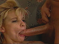 Blonde gets her face filled with cum