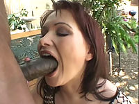 Katja Kassin deepthroats his huge black cock