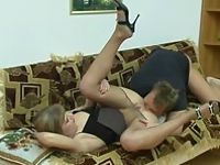 Lascivious chick in control top pantyhose under anal threat right on sofa