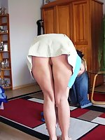 See girls in short skirts on all fours exposing upskirt