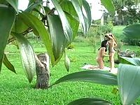 Lascivious shemale having freaky fun in amazing doggystyle fucking outdoors