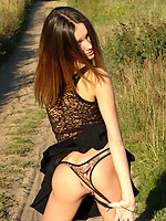 Beautiful teen stripping outdoor