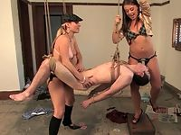 Harmony Rose and Penny Flame dominate slave boy