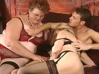 Fat old vixen has fun in wild orgy