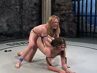 Bobbi Starr defeated and fucked naked wreslting.
