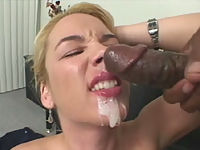 Olivia gets her face covered with sticky jizz