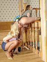 Blondie assuaging her girlfriend while stroking her legs in nylon pantyhose