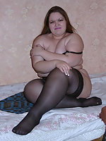 Amateur plumper in black stockings