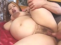 Swollen and big bellied preggo slut gets the hard fucking that she deserved.