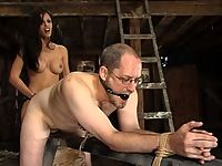 Shy love forces her sub to strict cbt forced ass licking