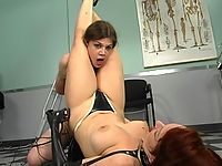 Sonya disciplines Sierra with flogging and shock treatment.