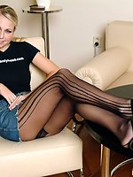 Leggy blonde in pantyhose