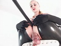 Latex doxy stuffed in mouth and ass