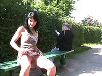 Playful puss shows her trimmed snatch in public