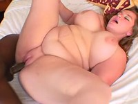 Plump busty lady drilled by blackie