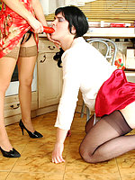 Lewd sissy on all his fours waiting for babe's strap-on invasion in kitchen