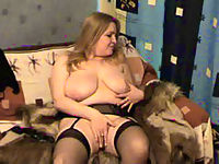 Exciting blonde BBW in stockings