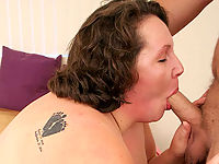 Mature fatty having her cunt lapped after cock sucking