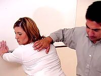 Chubby blonde teacher ass punished with a belt