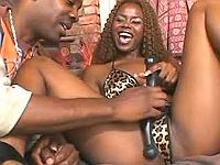 Sex with ebony in leopard lingerie