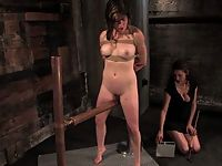 Staceys natural tits are shocked as her pussy is forced to cum