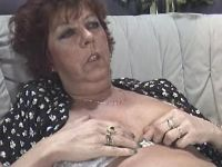 Lusty granny licked and sucks hard cock on sofa