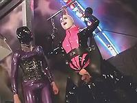 Hot whores in latex outfit in orgy