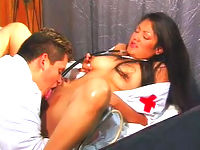 Gorgeously sultry latina nurse gets ultimate pussy satisfaction from the doctor.